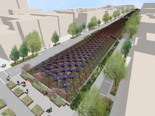 """""""Green Canopy"""" proposal for the BQE (Courtesy Starr Whitehouse)"""