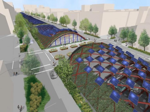 """Green Canopy"" proposal for the BQE (Courtesy Starr Whitehouse)"