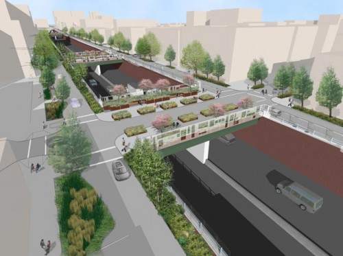 """Maximum Green"" proposal for the BQE (Courtesy Starr Whitehouse)"