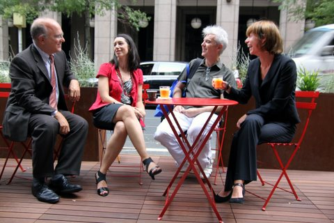 NYC Department of Consumer Affairs Commissioner Jonathan Mintz, the Downtown Alliance's Nicole LaRusso, David Byrne, and Janette Sadik-Khan at the pop-up cafe. (Courtesy NYC DOT)