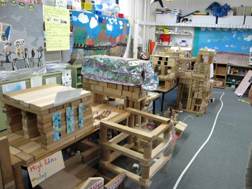 Kids build a model of the High Line (Courtesy High Line Blog)
