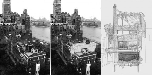 23 Beekman Place and renderings of Rudolph's house (Paul Rudolph Foundation)