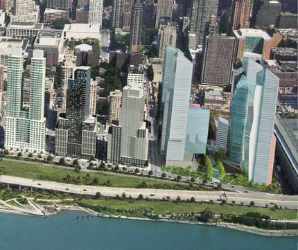 The  Christian de Portzamparc designed towers (rights) approved by City Council today. (Courtesy Extell).