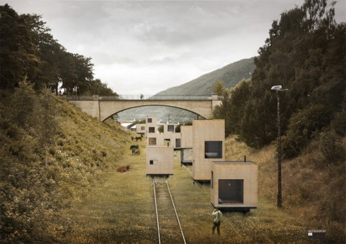 Architects propose a series of buildings rolling on tracks (Courtesy Jagnefalt Milton)