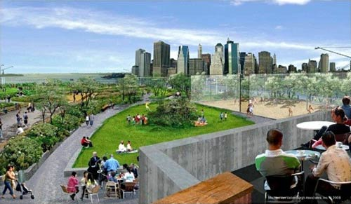 View from rooftop of planned Brooklyn Bridge Park restaurant (via Curbed)