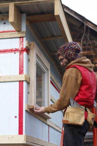 A student works on the Tiny House (Courtesy Green Mountain College)