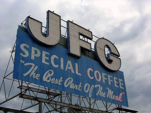 Historic JFG Coffee sign in Knoxville, TN (Courtesy Knox Heritage)