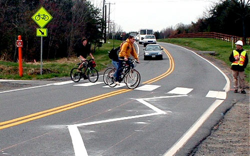VDOT's zigzag road striping (Mike Salmon/VDOT via Washington Post)