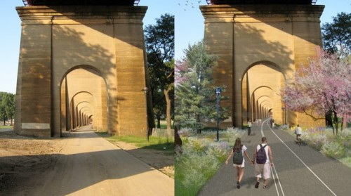 Planned pedestrian and bike path under the Hells Gate Bridge (Courtesy NYCEDC)