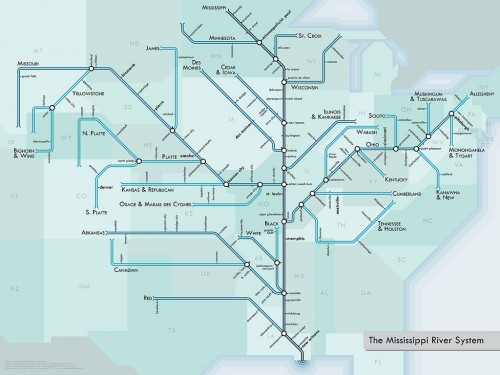 Mississippi Metro Map via Something About Maps