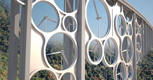 Rendering of an Italian viaduct with wind turbines (Via Popular Science)