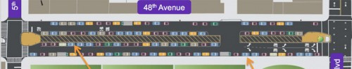 Parking lanes planned along 48th Avenue (Courtesy NYCDOT via StreetsBlog)
