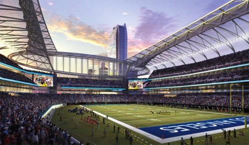 Gensler's proposed design for a Downtown LA Stadium.