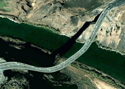 Perrine Bridge (Google Earth via Clement Valla)