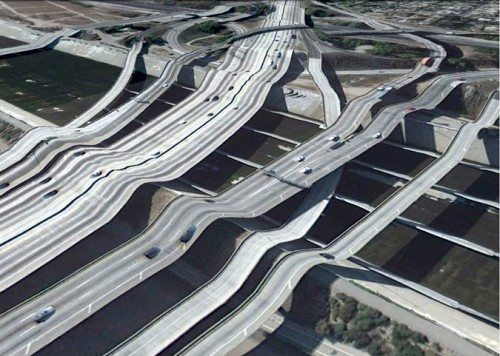 Highway in Los Angeles (Google Earth via Clement Valla)