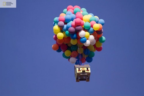 A recreation of the Pixar film Up (National Geographic)