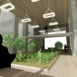 The project features many community gathering spaces.