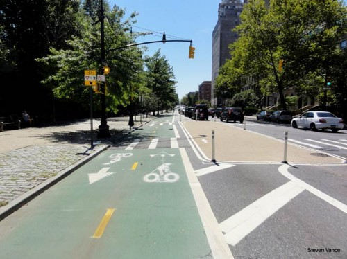 Dedicated bike lane along Brooklyn's Prospect Park West (Courtesy Steven Vance)