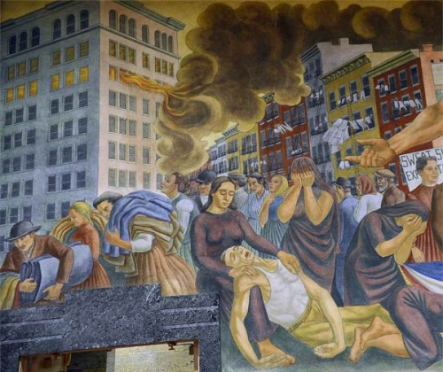 A mural by Ernest Fiene representing the Triangle Shirtwaist fire, at the High School of Fashion Industries NYC (Courtesy Triangle Fire Open Archive).