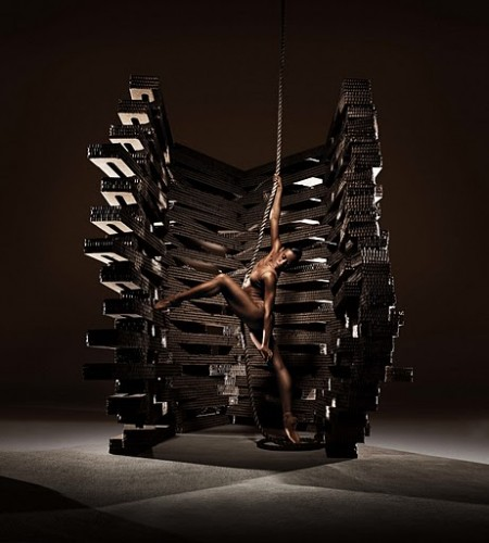 Ashley Jackson featured with one of Haas' original sets. Photo by RJ Muna