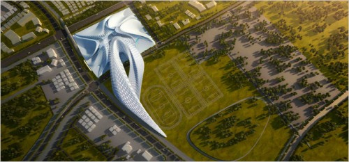 Zaha Hadid's proposed civic center in Elk Grove, California