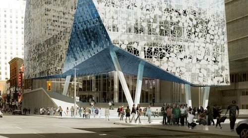 Rendering of the plaza entrance to the Student Learning Centre. (Courtesy Ryerson University)