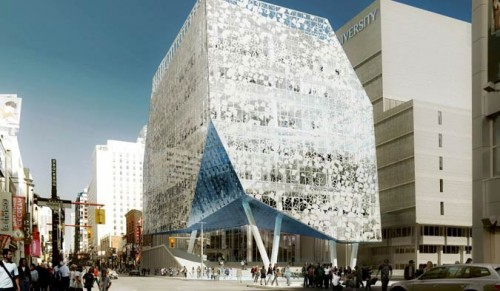 Rendering of the exterior of the Student Learning Centre looking north on Yonge Street. (Courtesy Ryerson University)