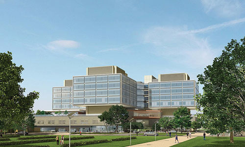 The new hospital will be the tall man on the Stanford campus. Courtesy Rafael Viñoly Architects.