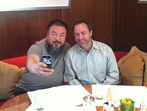 Ai Weiwei with Jimmy Wales, the founder of Wikipedia (Courtesy Melissa Lam)