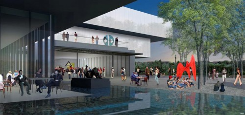Pools of water wind through the proposed addition. (Courtesy wHY Architecture)