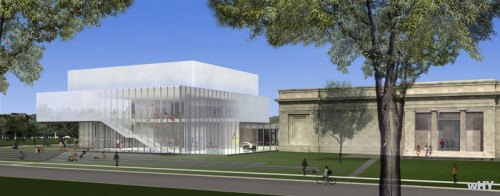 The Speed Art Museum's addition sits to the north of the original 1920s Beaux-Arts building (Courtesy wHY Architecture)