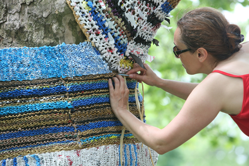 "Isabelle Garbani working on ""Knit For Trees"""