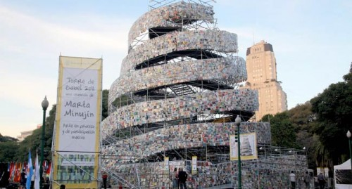 "Artist Marta Minujin's ""Tower of Babel"" made from books in Argentina. (Courtesy Buenos Aires World Book Capital)"