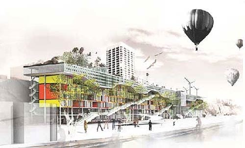 Proposed highway-straddling structure in Santa Monica. (Courtesy Curbed)