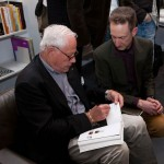 Dieter Rams holds court at Vitsoe exhibition opening.