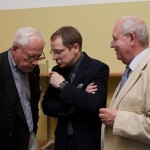 Dieter Rams with Mark Adams of Vitsoe (middle) and designer Dietrich Lubs.