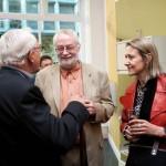 Rams with Bill Moggridge and Caroline Baumann of Cooper Hewitt at Vitsoe opening.