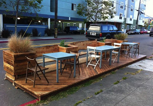 Parklet in Oakland goes missing. (Courtesy Actual Cafe)