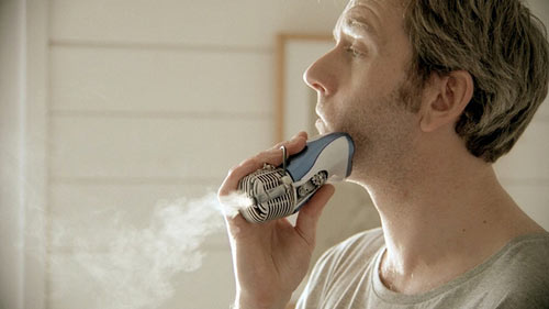 A gas-powered shaving device. (Still from video)