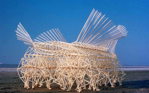 Strandbeests by Theo Jansen made from yellow piping.