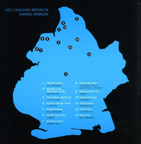Map of winning projects. (Courtesy Brooklyn Chamber of Commerce)