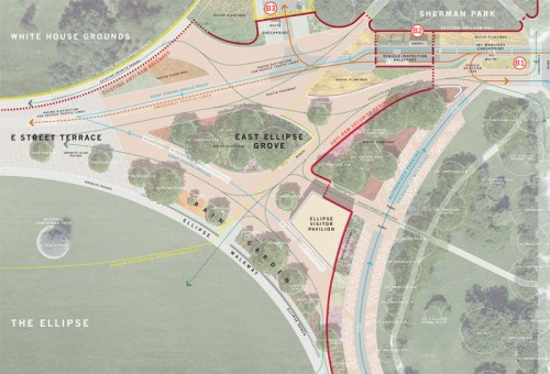 Plan showing public spaces around the President's Park ellipse. (Courtesy RMA)