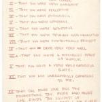 Eero Saarinen, List of Aline Bernstein's good qualities, ca. 1954. Courtesy Morgan Library.