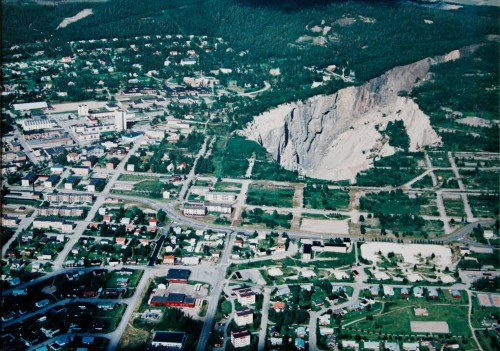Aerial view of Malmberget, Sweden (Polis, Tomma Rum)