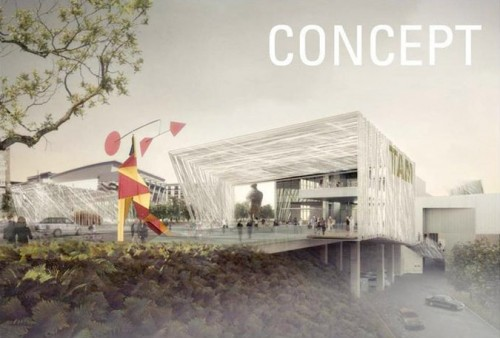 Concept plan to redesign Tacoma Art Museum Plaza by Olson Kundig Architects. (Courtesy NEA)