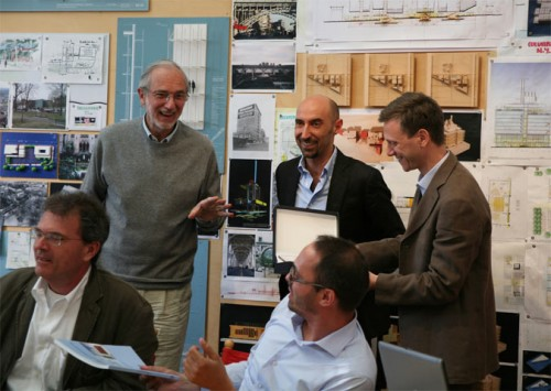Renzo Piano with Paolo Iotti and Marco Pavarani. (Courtesy Iotti+Pavarani)