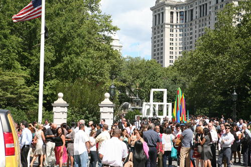 At City Hall Park thousands waited for the all's clear to return to their offices.