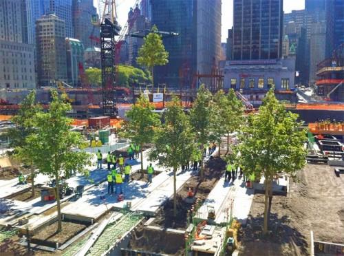 World Trade Center plaza under construction. (Courtesy Peter Walker)