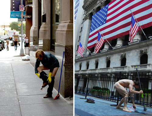 Participants disrobe for Ocularpation: Wall Street. (Asa Gauen and Mike Kingsbaker)