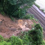 A mudslide covers the tracks at Metro-North Railroad's Hudson Line at Spuyten. (Courtesy MTA)